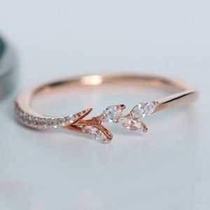 Rose Gold Dainty Marquise Leaf & Branch Ring